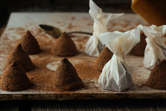 Chocolate truffles on cooking tray Stock Image