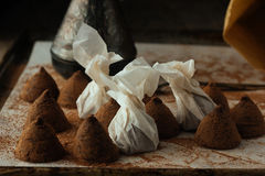 Chocolate truffles on cooking tray natural light Royalty Free Stock Photography