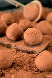 Chocolate truffles covered with cacao powder. On a black plate royalty free stock images