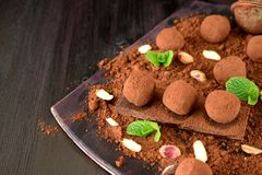 Chocolate truffles covered with cacao powder. Pistachio nuts, chocolate and mint royalty free stock image