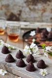 Chocolate truffles. Delicious chocolate truffles on the table Stock Photo