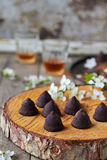 Chocolate truffles. Delicious chocolate truffles on the table Stock Images