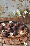 Chocolate truffles. Delicious chocolate truffles on the table Stock Photography