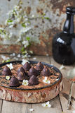 Chocolate truffles. Delicious chocolate truffles on the table Royalty Free Stock Photography