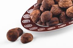 Chocolate truffles for dessert plate Royalty Free Stock Photography