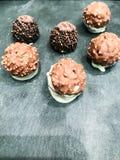 Chocolate truffles display royalty free stock photography