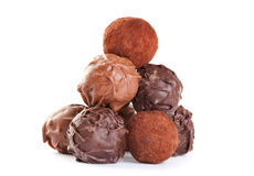 Chocolate truffles formed like a pyramid Royalty Free Stock Image