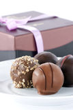 Chocolate Truffles & Gift Box Stock Image