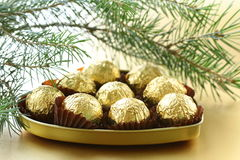 Chocolate truffles in a gift box stock photos