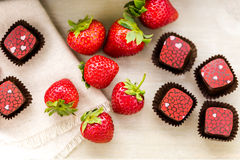 Chocolate truffles. Gourmet Strawberries and champaigne chocolate truffles Stock Images