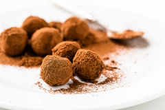 Chocolate truffles. Handmade chocolate truffle candies Royalty Free Stock Photo