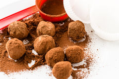 Chocolate truffles. Handmade chocolate truffle candies Royalty Free Stock Images