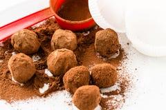 Chocolate truffles. Handmade chocolate truffle candies Royalty Free Stock Images