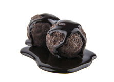 Chocolate truffles. Isolated on white background royalty free stock photography