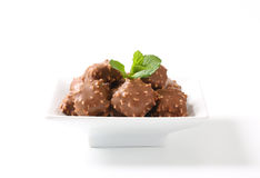 Chocolate truffles with nuts Royalty Free Stock Photos
