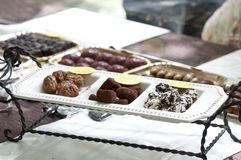 Chocolate truffles and other candies Royalty Free Stock Photo