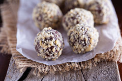 Chocolate truffles with peanut butter stock images