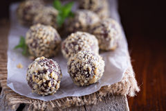Chocolate truffles with peanut butter. And milk chocolate royalty free stock photo
