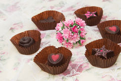 Chocolate Truffles with  pink rose Royalty Free Stock Photography