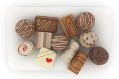 Chocolate truffles on a plate Royalty Free Stock Photography