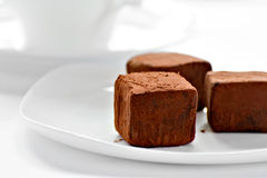 Chocolate truffles on a plate Stock Photography