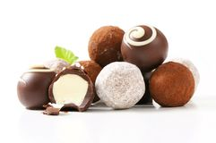 Chocolate truffles and pralines Stock Image