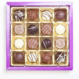 Chocolate truffles, pralines, variety in box Stock Photo