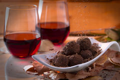 Chocolate Truffles with Red Wine Stock Photos