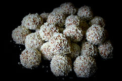 Chocolate Truffles Rolled In Coconut Stock Photo