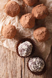 Chocolate truffles  in a rustic style. vertical top view Stock Images