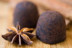 Chocolate  truffles with spices Royalty Free Stock Photos