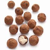 Chocolate truffles with sweet cream Stock Photos