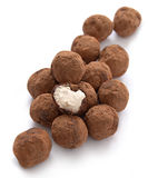 Chocolate truffles with sweet cream Royalty Free Stock Photos
