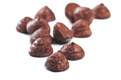 Chocolate truffles on a white background Royalty Free Stock Images