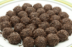 Chocolate truffles. On a white background stock photo