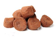 Chocolate truffles. On a white background stock photography