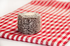 Chocolate turkish delight on the red tablecloth Stock Image