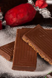 Chocolate turron closeup Stock Images