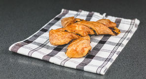 Chocolate twists on a black and white napkin Stock Photography