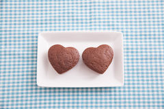 Chocolate Valentine Cake on blue cloth Stock Photography