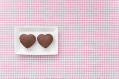 Chocolate Valentine Cake on pink cloth stock images