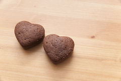 Chocolate Valentine Cake on wooden table Stock Photos