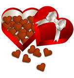 Chocolate Valentines day in heart gift box Stock Photos