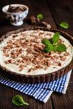 Chocolate and vanilla cheesecake stock photography
