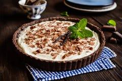 Chocolate and vanilla cheesecake royalty free stock photo