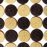 Chocolate and vanilla cookies with cream filling isolated. background Royalty Free Stock Image