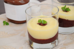 Chocolate and vanilla cream. Served in glasses, decorated with mint leaf Stock Photography