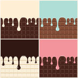 Chocolate, vanilla cream, pink and blue cream. Set of melted cream and chocolate dripping down on chocolate bar background. Vector royalty free illustration