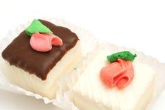 Chocolate and vanilla cupcake stock photography
