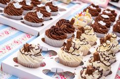 Chocolate and Vanilla cupcakes on display Royalty Free Stock Photos